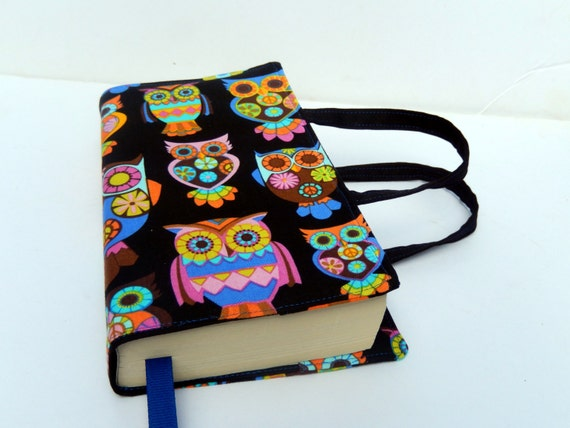 Owl Fabric Book Cover with Handles