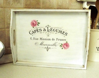 Wood Tray Shabby Chic Decor White with Pink Roses, Rustic Tray French inspired, Hostess gift Decorative Tray, Wedding gift