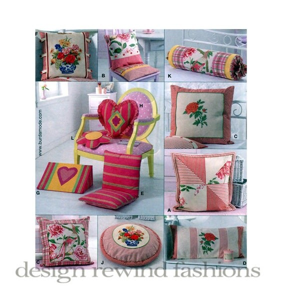 Sewing Pattern For Pillow Covers: PILLOW PATTERNS Chair Cushion Pillow Covers Pattern Bolster,