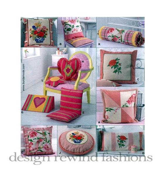 PILLOW PATTERNS Chair Cushion Pillow Covers Pattern Bolster Floor Cushions Flower Heart Shape Pillows Burda 7974 UNCuT Craft Sewing Patterns from ...