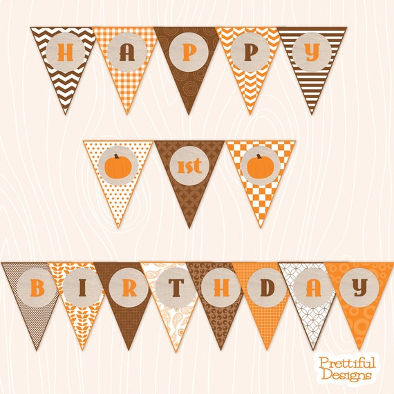 Autumn Happy 1st or 2nd Birthday Banner Orange Brown ...
