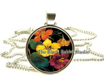 Nasturtiums flowers Pendant, Nasturtiums Necklace, Flower Jewelry