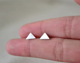Triangle Stud Earrings-Simple Modern Stud Earrings-Sterling Silver-Handmade-Everyday Jewelry-Great Gift for Him/Her