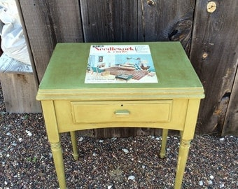 Vintage Sewing Machine Cabinet - 1947 Singer - Painted - Decoupaged
