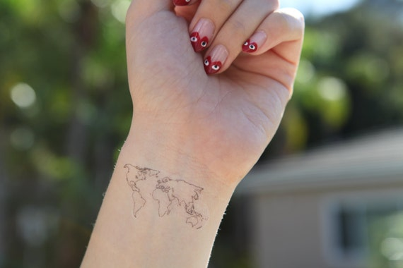 World map medium spirit ink temporary tattoos like this item gumiabroncs Image collections