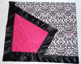 Hot Pink / Black & White Damask Minky Baby Blanket