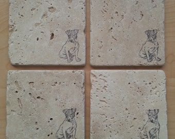 Natural Tumbled Marble Stone Smooth Jack Russell Coasters