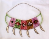 Tribal necklace - Seed bead colorful native necklace - boho necklace, multi color geometric ethnic necklace statement