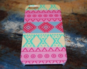 Pink Yellow Tribal Print Case For iPhone 6 / (4.7) / 4.7 / 5c / 5s / 5 / 4s / 4 Pattern Cover Aztec Tribal Print Cases Printed In USA c21