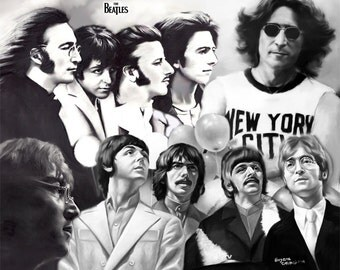"Beatles painting, poster, print, reproduction, charcoal drawing by artist eugene, artwork, 16""x20"",22.4""x28"",30""x40"""