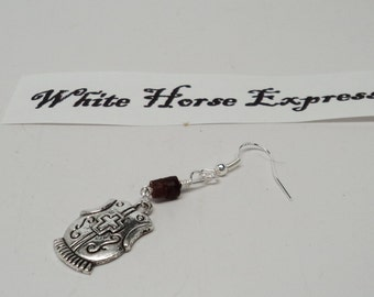 Man's Earring Wooden Beads Silver Toned Armor Charm Wire Wrapped 925 Sterling Silver Ear Wire
