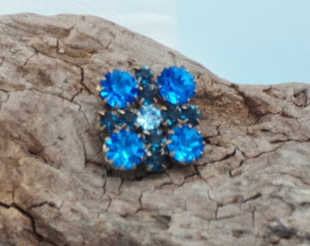 "Striking Blue Czech Glass 1"" Square Button"