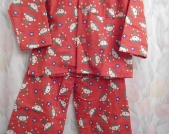 Boys size 3 Pajamas gray  white mice on red