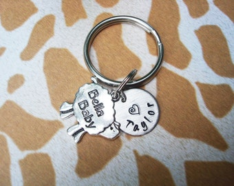 BELLA BABY SHEEP keychain - name charm shown is optional (see price in drop down box) -  sheep keyring, zipper pull, purse charm, key ring
