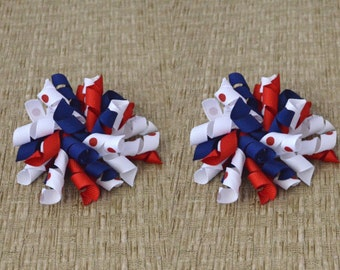 Red White and Blue Bows, Korker Hair Bows, Pigtail Bows, Baby Hair Bows, Baby Hair Clips, Fourth of July Bows, Patriotic Bows, Korker Bows