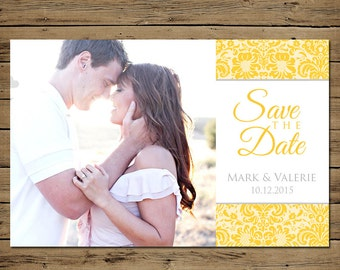 Damask Save the Date - Custom Engagement Photo Announcement - Printable - Yellow