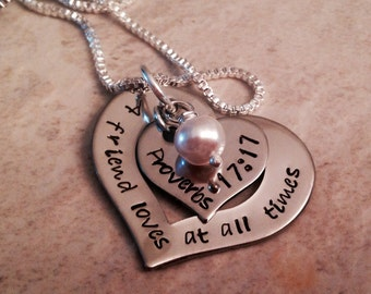 A friend loves at all times bible verse necklace proverbs 17:17 hand stamped personalized with birthstone