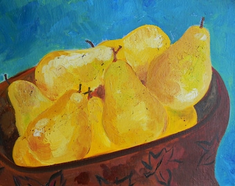 Pear Original oil painting on canvas, Contemporary Painting, 14x11, by Marla