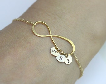 initial infinity Bracelet . three initials gold filled Bracelet . love,couple,Mom,Sister,Wife,Family,Bridesmaid Gift