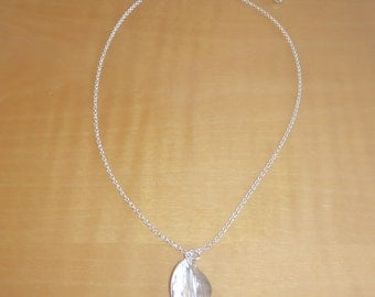 Adjustable Sterling Silver Necklace w/ Twisted Brushed Shiny Oval Shaped Sterling Drop Bead