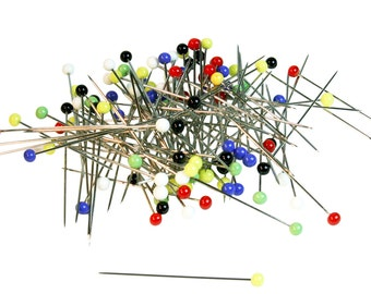 Glass Head 2 Inch Long German Made Straight Pins - Scissors & Pins -
