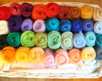 30 Colours -150g Felting Wool Needle Felting Wool Platter- Wool Roving for Felting and Spinning - READY TO SHIP