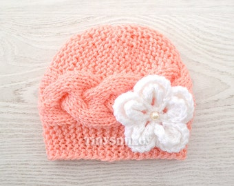 Peach Cable Newborn Beanie, Cable Knit Baby Girl Beanie, Newborn Baby Girl Hat in Peach, Cute Baby Hat, MADE to ORDER