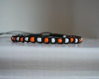 Orange and White Beaded Black Hemp Anklet