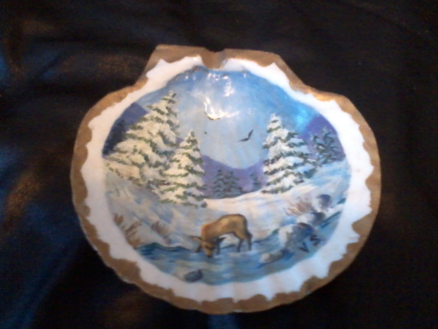 Hand Painted Scallop Shell Winter Landscape Deer at Stream