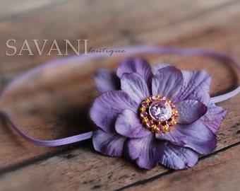 Lavender baby headband, shabby chic roses headband, newborn head band, headbands