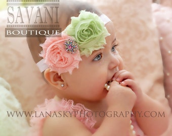 Baby girl,pink green baby headband,newborn headband, shabby chic roses headband, girls headband