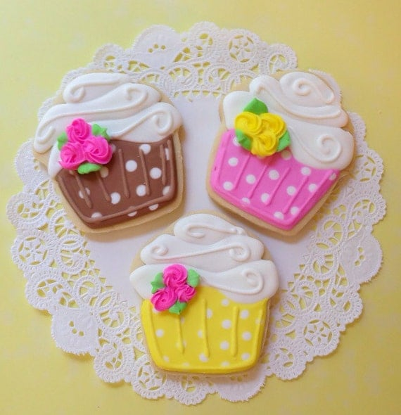 Decorated cupcake cookies birthday baby girl baby shower