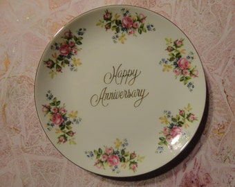 Happy Anniversary Plate, Wedding Celebration Gift, Fine China, Japan ...