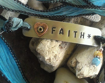 Hand Stamped Faith, Silk Ribbon Bracelet, Boho Chic Silk Ribbon Wrap, Religious Jewelry, Personalized Bracelet