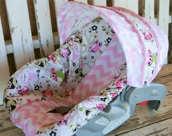 light pink and white chevron with sit n a tree owls infant car seat cover and hood cover
