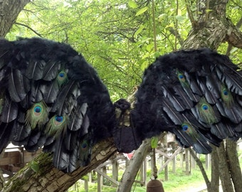 OOAK  Fantasy Dark Angel Wings Black  Extra Large Adult