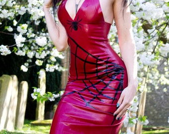 Elyse. Mid length latex dress. Made to order!