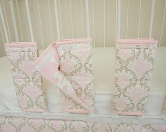 Pink and Taupe Damask Crib Cot Bar Bumpers - Set of 10