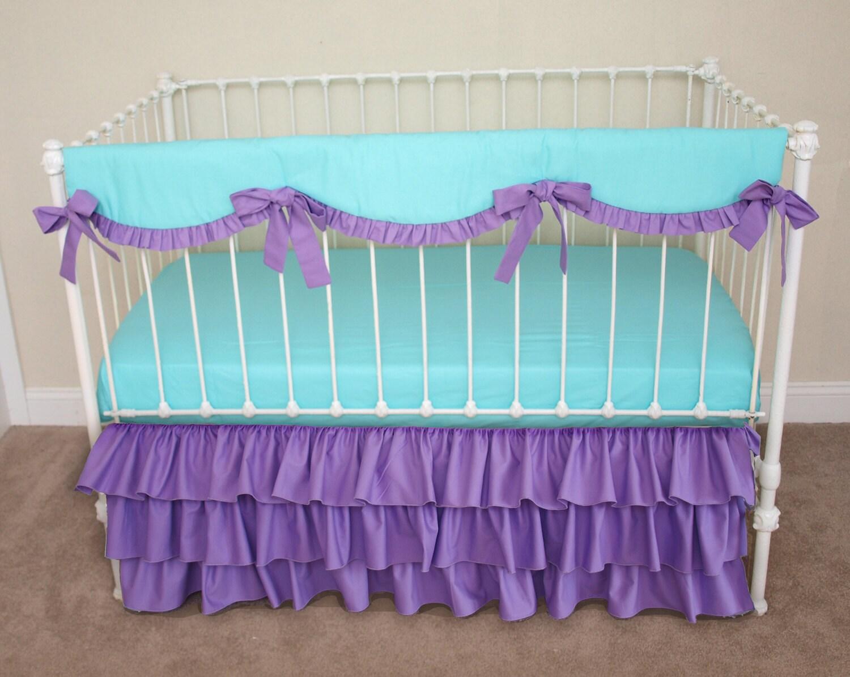 Bumperless Aqua And Purple Baby Girl Crib Cot By