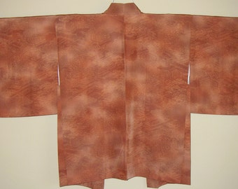 Lovely Garden Rooms Vintage Japanese Haori - Dyed Garden Scenes on Ombre Silk  - Hand Sewn