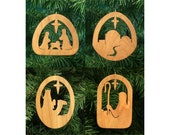 Christmas Ornament Set 1: Nativity Scene, Town of Bethlehem, Wise Man, Shepherd