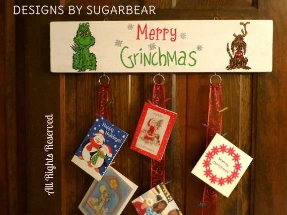 Grinch christmas card hanging wall display custom order only for Christmas card holder wall hanging