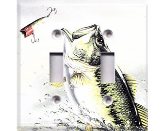 Bass Fishing Double Light Switch Cover