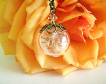 Dandelion Necklace, Wish Necklace, Real Dandelion Seed, Dandelion Globe, Nature Jewelry, Bridesmaid Gift, Real Flower Jewelry
