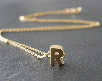 Gold Initial Letter R Necklace, Personalized Necklace, Wedding Jewelry, Bridesmaid Gifts, Simple, Modern, Everyday