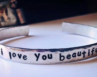 """Personalized Bracelet,  Engraved Bracelet, I love you to the moon & back, gypsy, hippie, sister, mother, gift, bridesmaid, teacher 1/4"""""""