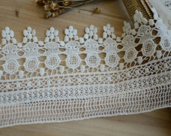 Off White Cotton Lace Trim Retro Scalloped Lace Trim Exquisite Embroidered Lace 5.31 Inches Wide 1 Yard Costume Headware Supplies