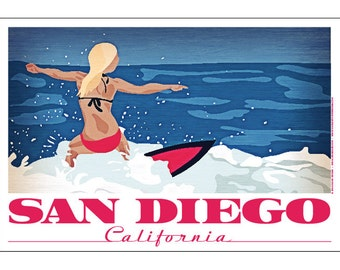 San Diego, California Surfer Girl Poster