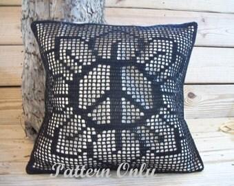 Filet Crochet Peace Flower Pillow Pattern