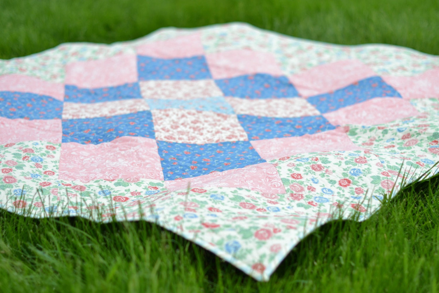 pink  blue shabby chic quilt  sewbokan  etsy